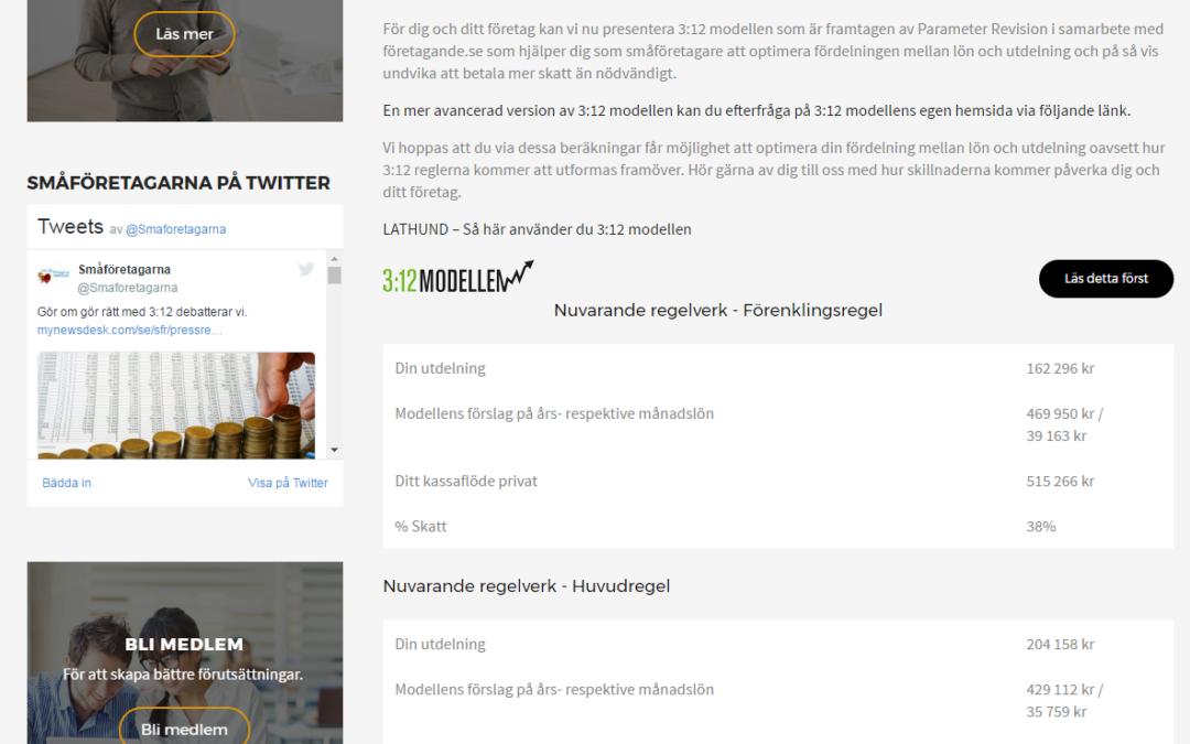 Nu ligger 3:12 modellen i HTML även på Småföretagarnas Riksförbunds hemsida
